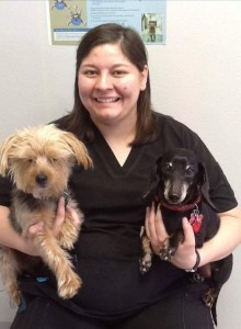 Tech Erika with her dogs Bentley and Jacques.
