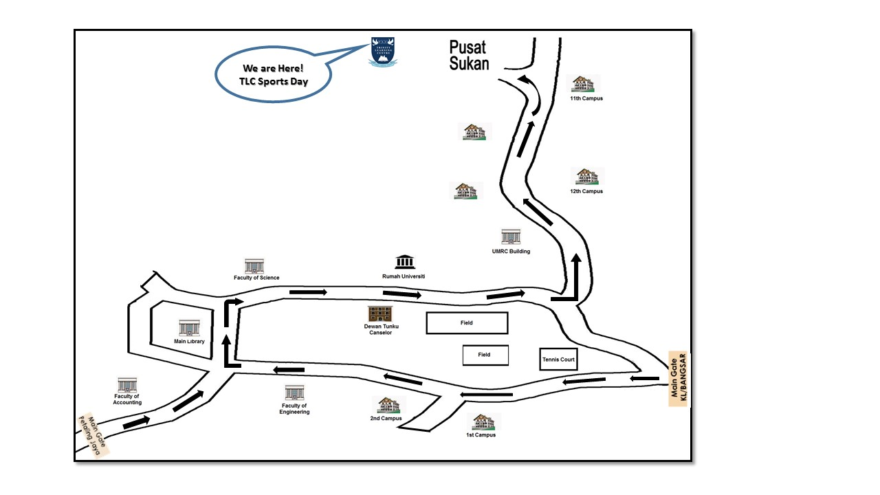 MAP TO UM ARENA STADIUM, University of Malaya