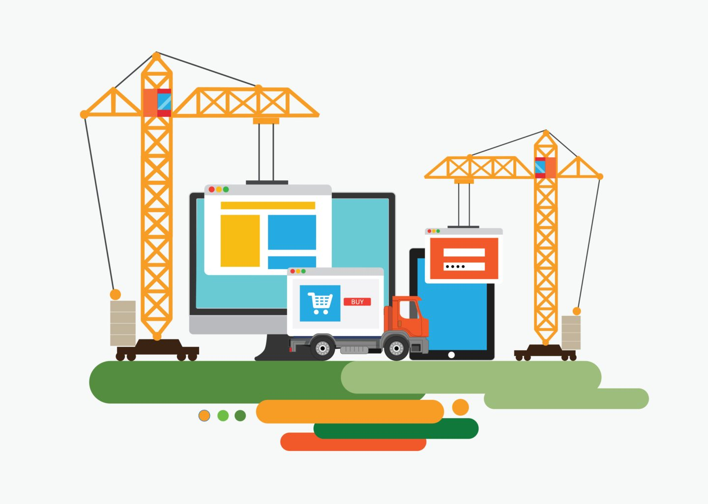 website construction graphic with trucks, computer, iPad and cranes