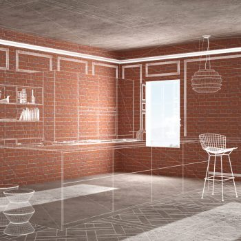 Image: A sketch of a client's vision for their home's interior laid over a brick room. Create a guide out of your custom home design ideas.