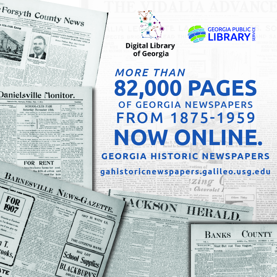 Georgia's Historic Newspapers provided by Digital Library of Georgia in partnership with Georgia Public Library Service