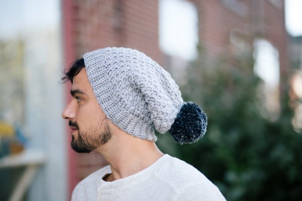 Mega Pom Beanie Unisex Crochet Winter Slouch Hat with pom pom