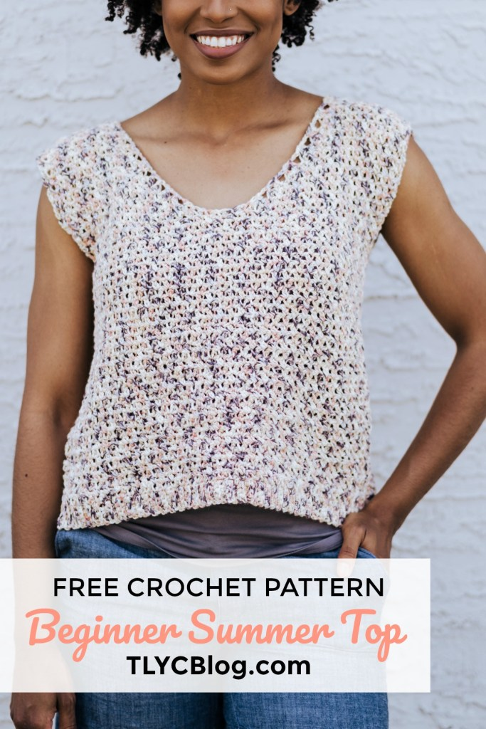 The Summertime Tank | FREE Crochet Sleeveless Cotton Summer Tank Top Pattern from TLYCBlog and JOANN. Made with Lion Brand Comfy Cotton in the Chai Tea Colorway. Size S-3XL. Beginner friendly, fast, FREE pattern. #summertimetank #crochet #summer #pattern
