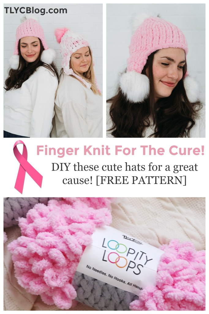 Pink Ribbon Hat | Use your craft skills to raise money for breast cancer research! Help JOANN support Susan G Komen by purchasing loop yarn to make the Pink Ribbon Hat, a FREE finger knitting pattern from TLYCBlog.com. | TLYCBlog.com
