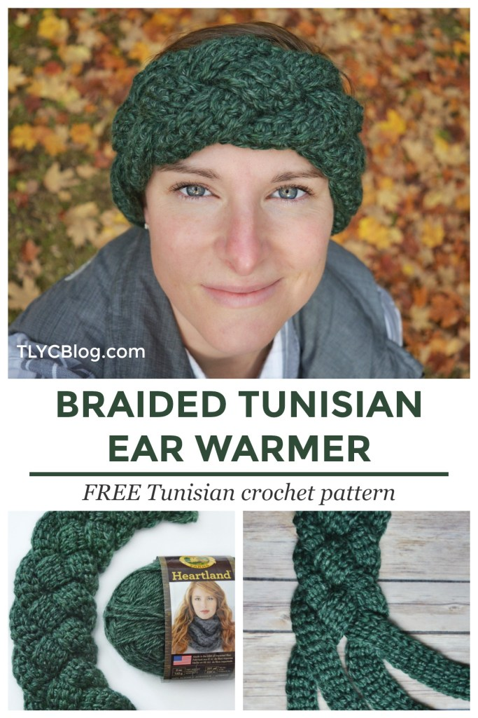Braided Tunisian Ear Warmer - FREE CROCHET PATTERN | Beginner-friendly and super fast, the Braided Tunisian Ear Warmer is a fun Tunisian crochet project. Strips of Tunisian simple stitch are woven together into a 4-strand braid. This free crochet pattern takes you step-by-step through the process and introduces new Red Heart Heat Wave yarn, which warms up in sunlight. Learn from the written pattern or the included tutorial video. |TLYCBlog.com #joannpartner #handmadewithjoann #tunisiancrochet #freecrochetpattern #crochetpattern