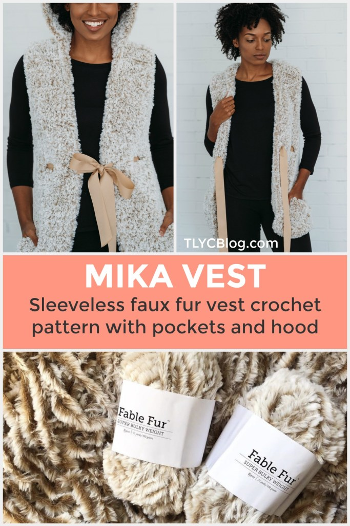 Mika Vest Crochet Pattern | Crochet Faux Fur Vest Pattern, sleeveless, with pockets and hood. Made with Super Bulky yarn in white color Fable Fur from Knit Picks, also available in Black, brown, gray, and tan. Wear with turtle necks or thin sweaters. Great holiday and winter outfit Inso. DIY your own faux fur vest! | TLYCBlog.com