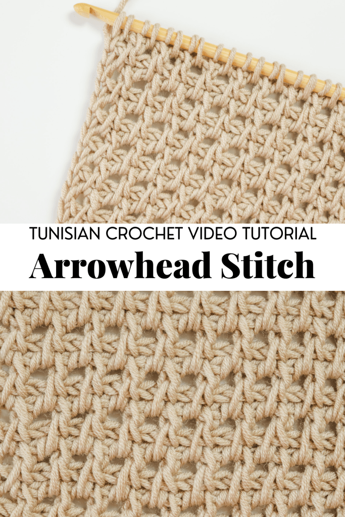 Tunisian crochet arrowhead stitch | Free written pattern and tutorial video for Tunisian crochet beginner learn how to crochet the Tunisian crochet arrowhead stitch | TLYCBlog.com