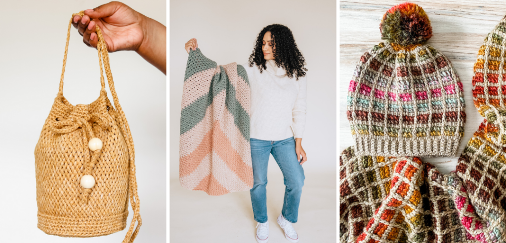 Free crochet patterns for beginners, free crochet bucket bag pattern, free crochet modern chunky blanket pattern, free crochet pom pom hat pattern