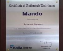 Сертификат дистрибьютора MANDO Техномир Одесса Украина