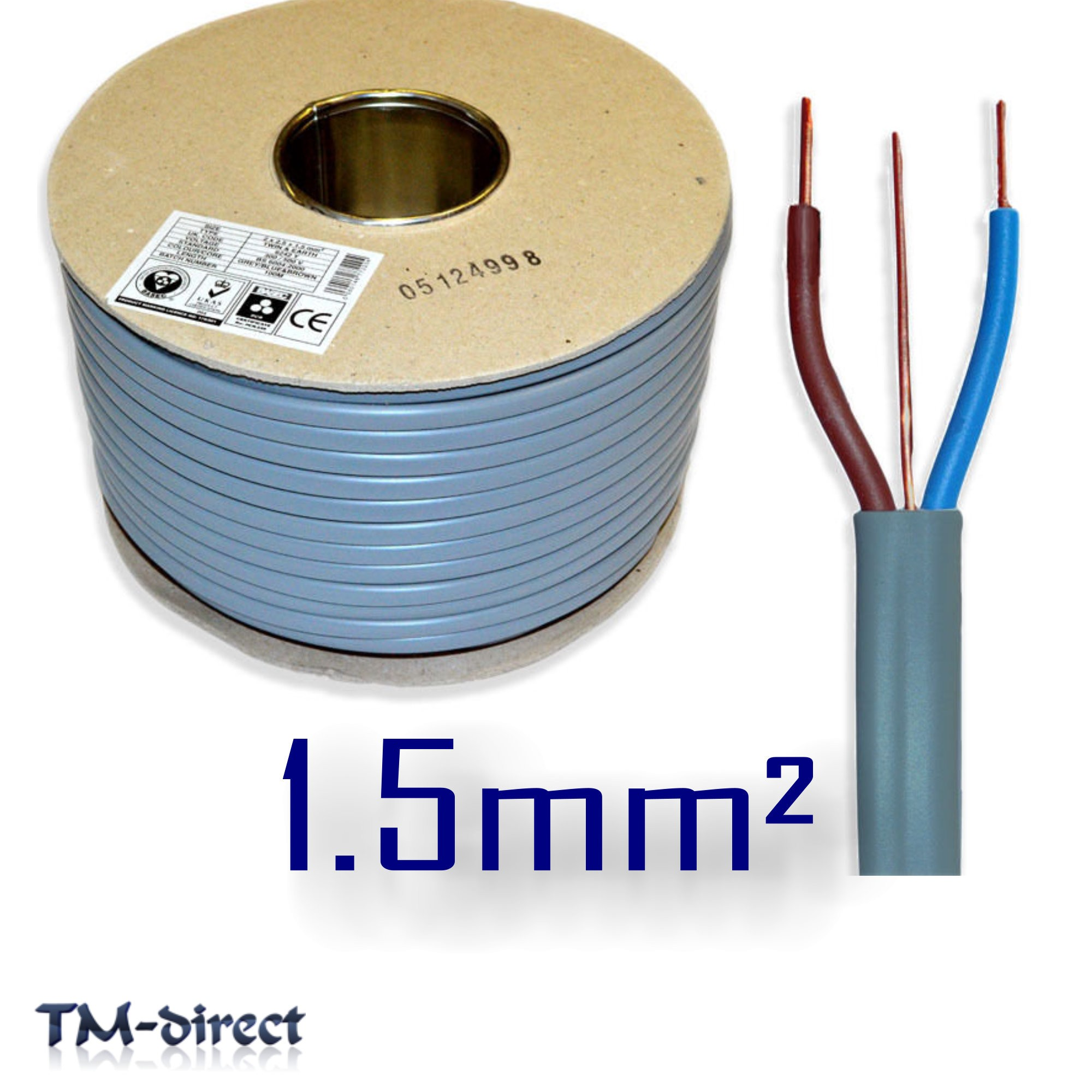 hight resolution of 1 5mm sq 6242y grey 3 core 2 and earth wire basec certified electric cable t e
