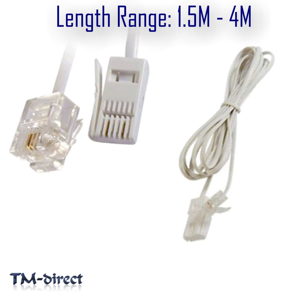 medium resolution of rj11 to bt socket 2 pin cable modem fax telephone phone plug straight lead