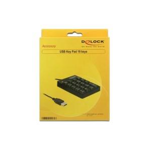 Delock Klawiatura numeryczna USB 19 klawiszy czarna