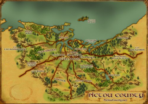 Custom graphic map of Pictou County, Nova Scotia