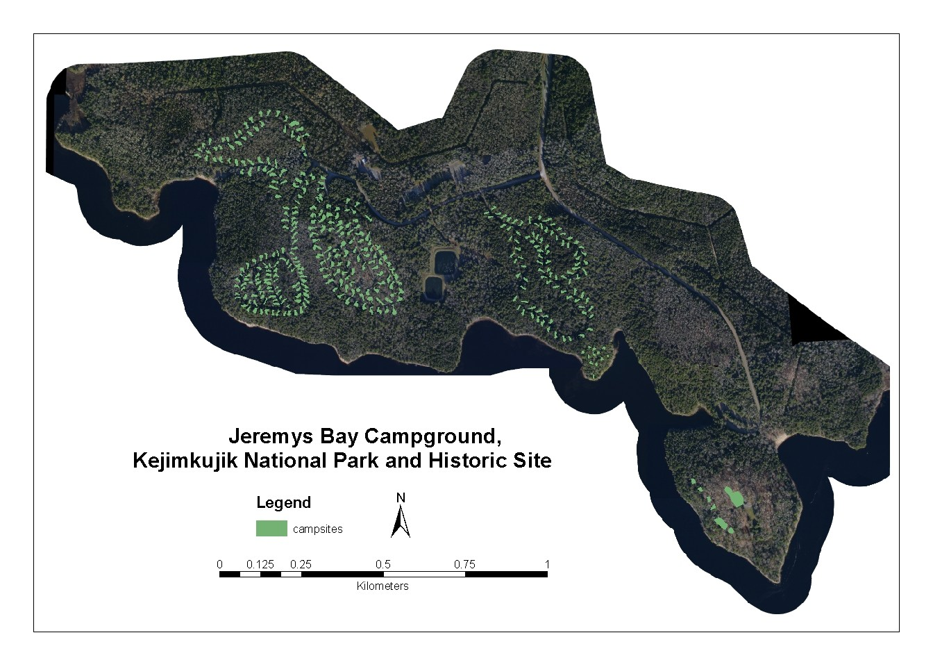 25 cm aerial photos of Jeremys Bay Campground, Kejimkujik National Park and Historic Site