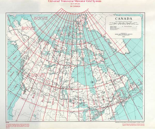 UTM key map of Canada