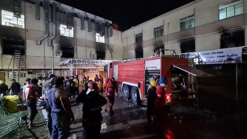 Iraq Covid hospital fire: 82 dead after 'oxygen tank explodes'