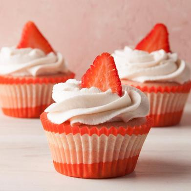 Strawberry Cupcakes with Whipped Cream Frosting Recipe: How to Make It |  Taste of Home