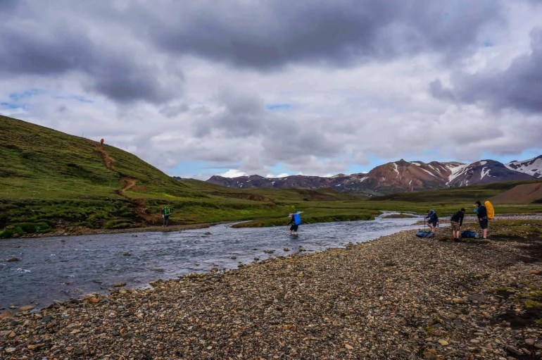 A river crossing near the Alftavatn Hut on the Laugavegur Trail