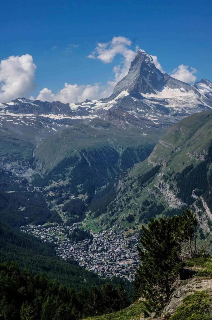 View of the Matterhorn and Zermatt.
