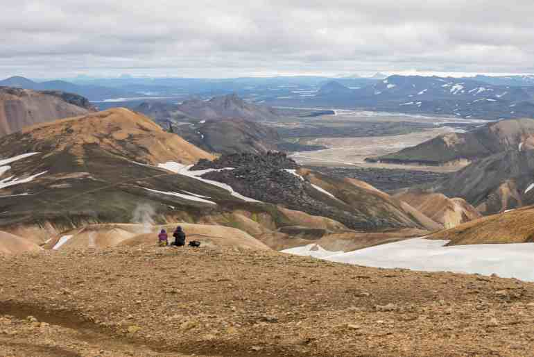 Hikers enjoying the view on the Laugavegur Trail