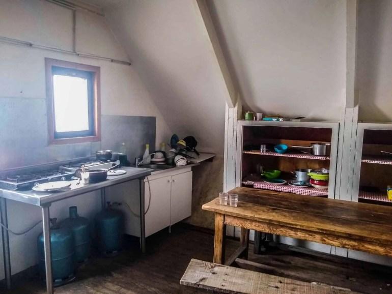 Kitchen at Refuge de Petra Piana.