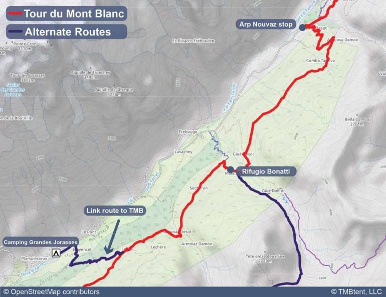 Map of camping options near Rifugio Bonatti.