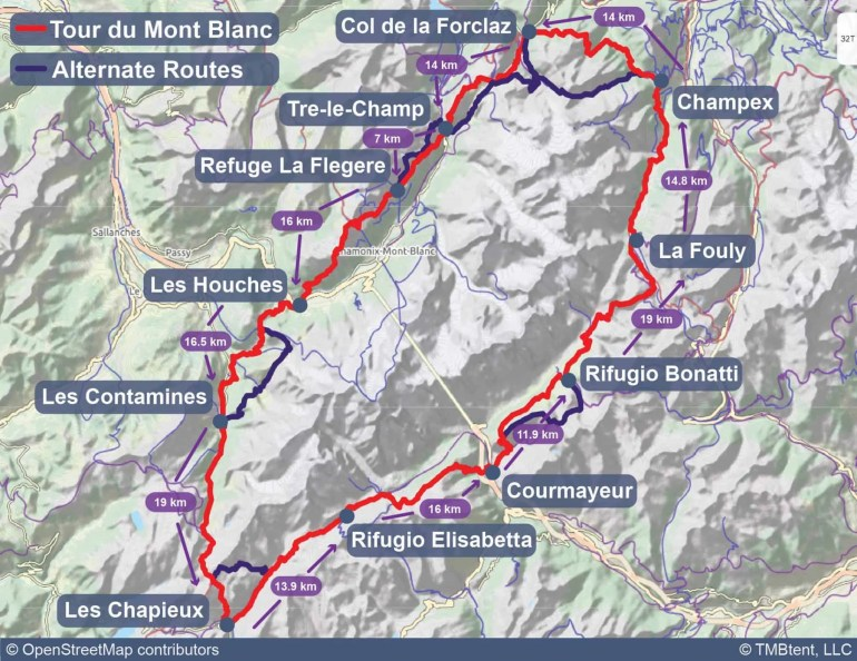 Map of the Tour du Mont Blanc with stage length in kilometers