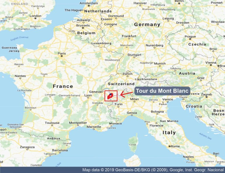 Map showing the location of the Tour du Mont Blanc