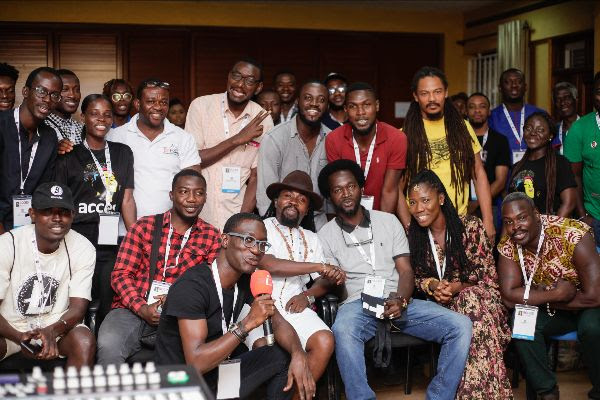 Kofi I am Beat Menance, Obrafuor, Yaa Yaa and participants of Production Essential Workshop