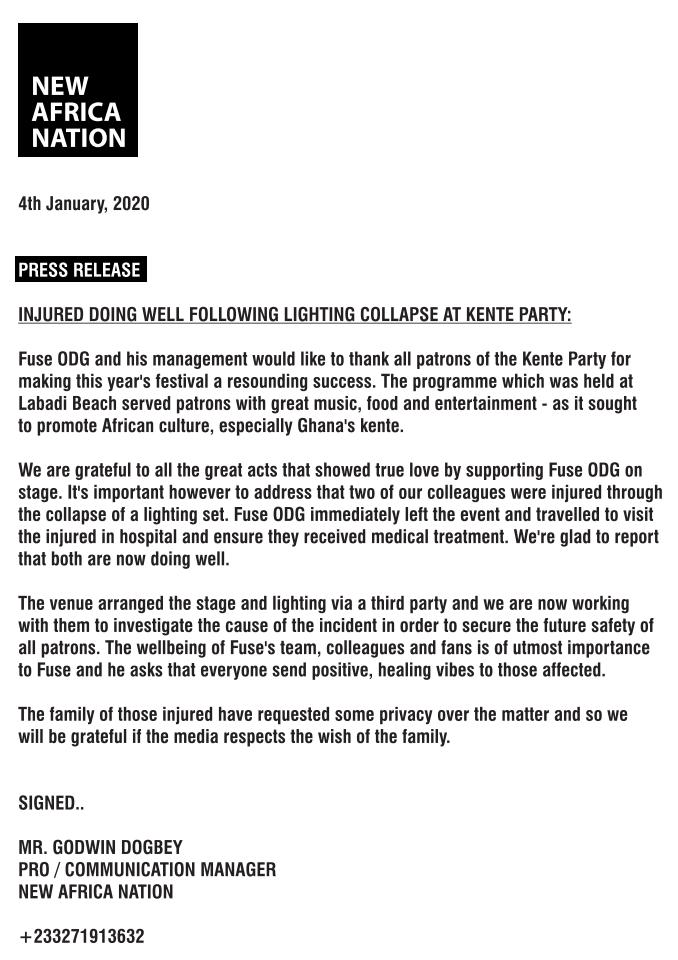 Fuse ODG Releases Press Statement After Unfortunate Incident At Kente Party