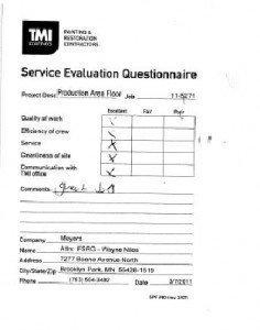 Service Questionnaire