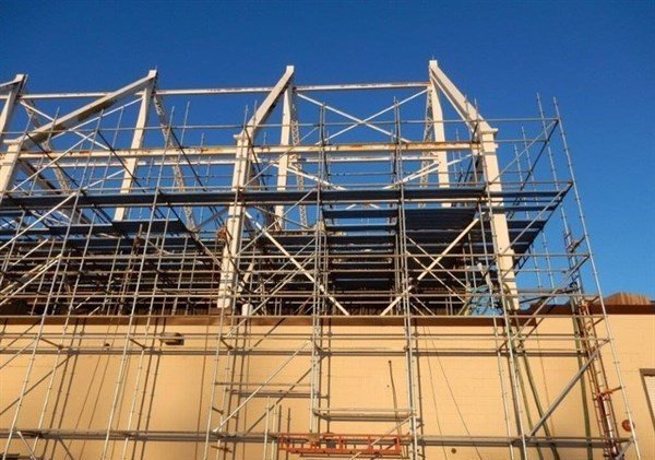 Scaffold Erection for Sandblasting on Military Hangar