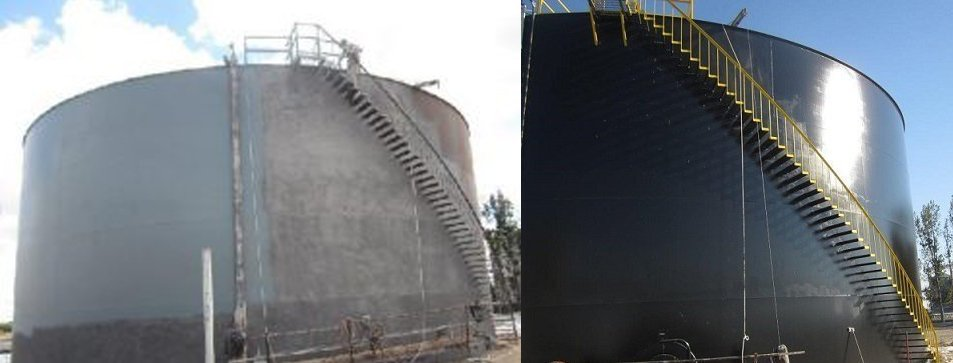 Two silos are pictured one before and one after TMI Coatings added a new fresh coat.