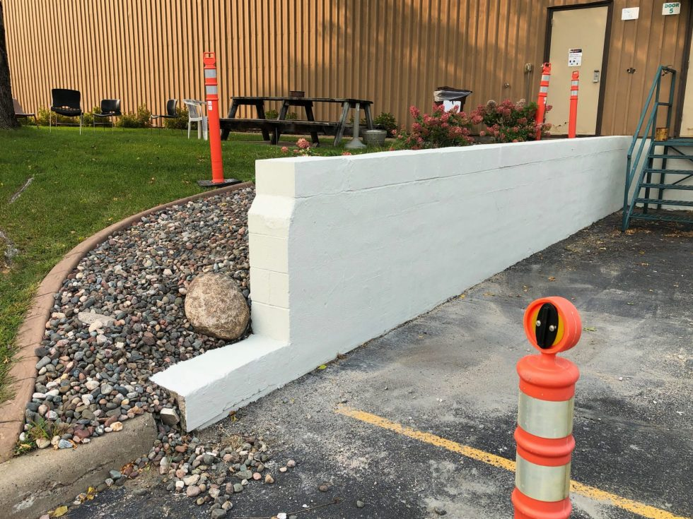 concrete foundation after new coating system