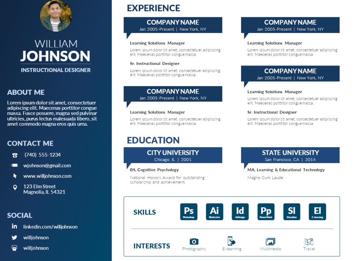 elearning resume templates