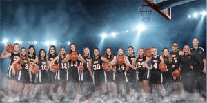 Team photo of the TMI Episcopal Varsity Girls Basketball Team