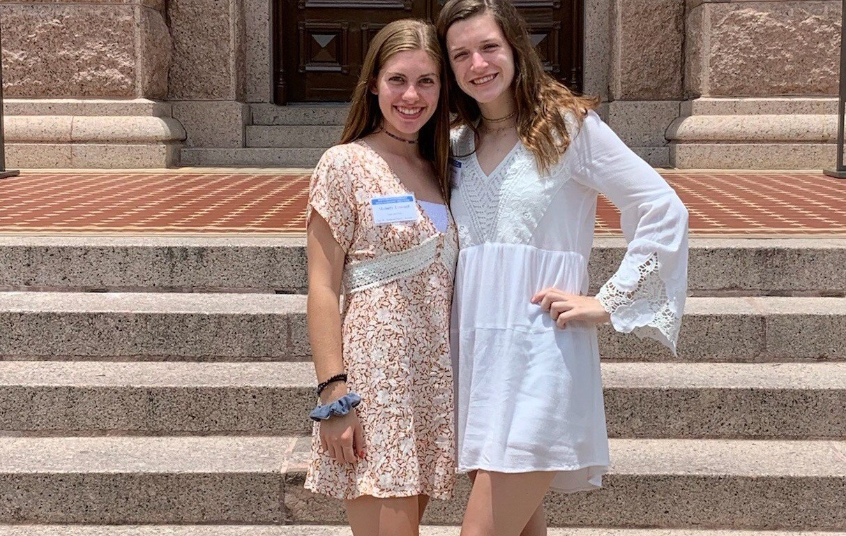 Photo of Melody Umstead, left, and Mary Warder, seniors at TMI Episcopal, visit the Texas State Capitol on June 16 during Bluebonnet Girls State, sponsored by the American Legion Auxiliary and held at Texas Lutheran University.