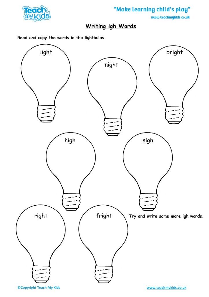 Light bulb for igh words Phonics Phonics