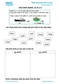 Long Vowel Sounds - oa or o-e - TMK Education