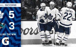 Game 19: Toronto Maple Leafs VS San Jose Sharks (W 5-3)