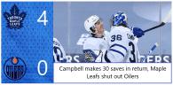 Game 22: Toronto Maple Leafs 4 – 0 Edmonton Oilers