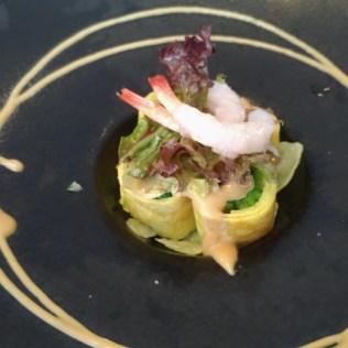 藝奇新日本料理先付:甜蝦時蔬卷