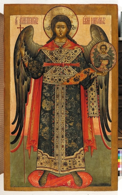 Archangel Michael, 18th century. Tempera on wooden panel. 150 x 92 cm. Yaroslavl Art Museum, Yaroslavl, Russia.