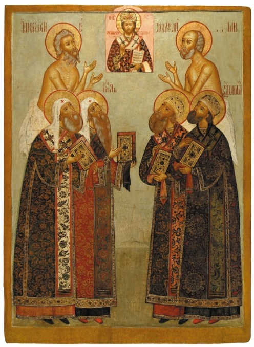 Saints Peter, Alexis, Jonah, Phillip, Metropolitans of Moscow, pictured with the Blessed Basil and Maxim, late 17th - early 18th century. Tempera on wooden panel. 138 x 104 cm. Yaroslavl Art Museum, Yaroslavl, Russia.