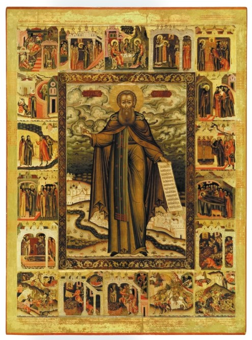 The Holy Monk Demetrius Prilutsky, with scenes from his life, late 17th century. Tempera on wooden panel. 162 x 123 cm. Yaroslavl Art Museum, Yaroslavl, Russia.