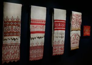 Embroidered Towels Display with Adoration of the Goddess Symbolism, early 19th-late 20th century. Russia. Private Collection of Susan Johnson. Varied materials and techniques.