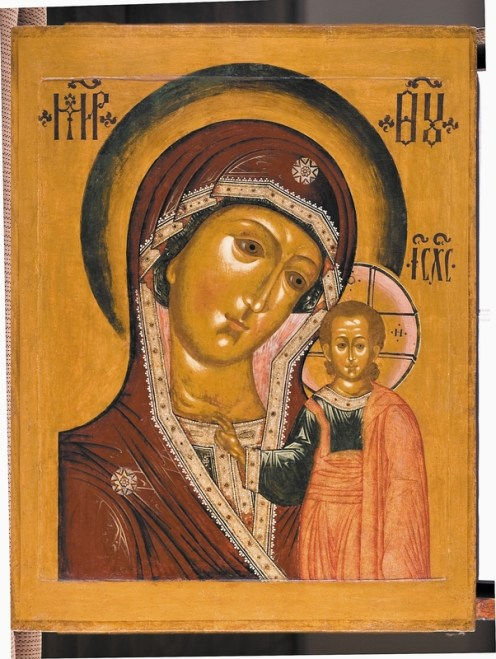 The Mother of God of Kazan, ca. 1680s. Tempera on wooden panel. 103 x 80.5 cm. Yaroslavl Art Museum, Yaroslavl, Russia.