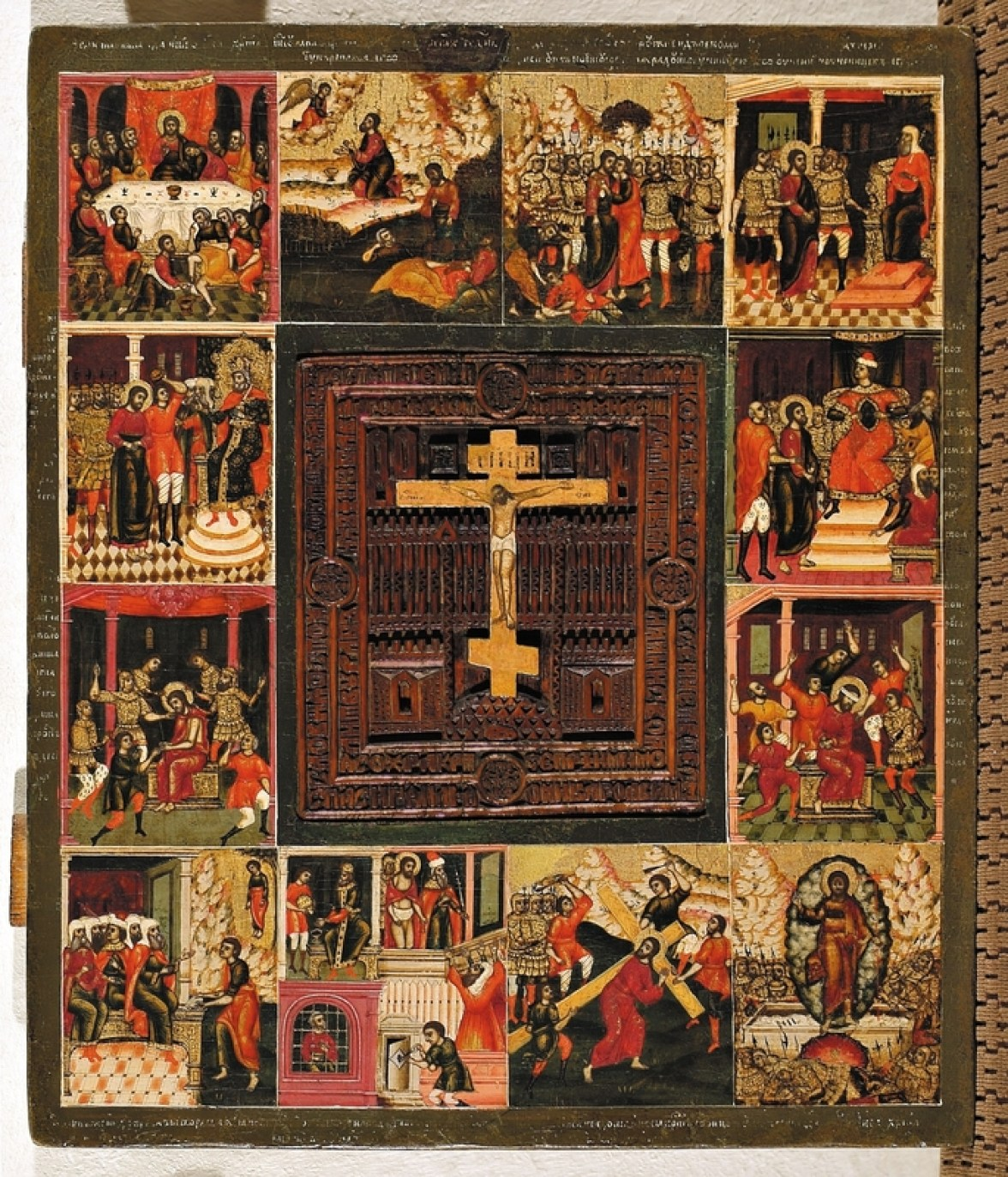 Crucifixion with 12 marginal scenes of the Passions of Christ, Late 17th century. Tempera on wooden panel. 36.5 x 32 cm. Yaroslavl Art Museum, Yaroslavl, Russia.