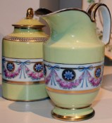 Tea caddy and cream pitcher, late 18th century