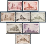 Set of Designs for New Moscow. First Congress of Soviet Architects. 1937. USSR. Scott#597-604. Private American Collection.